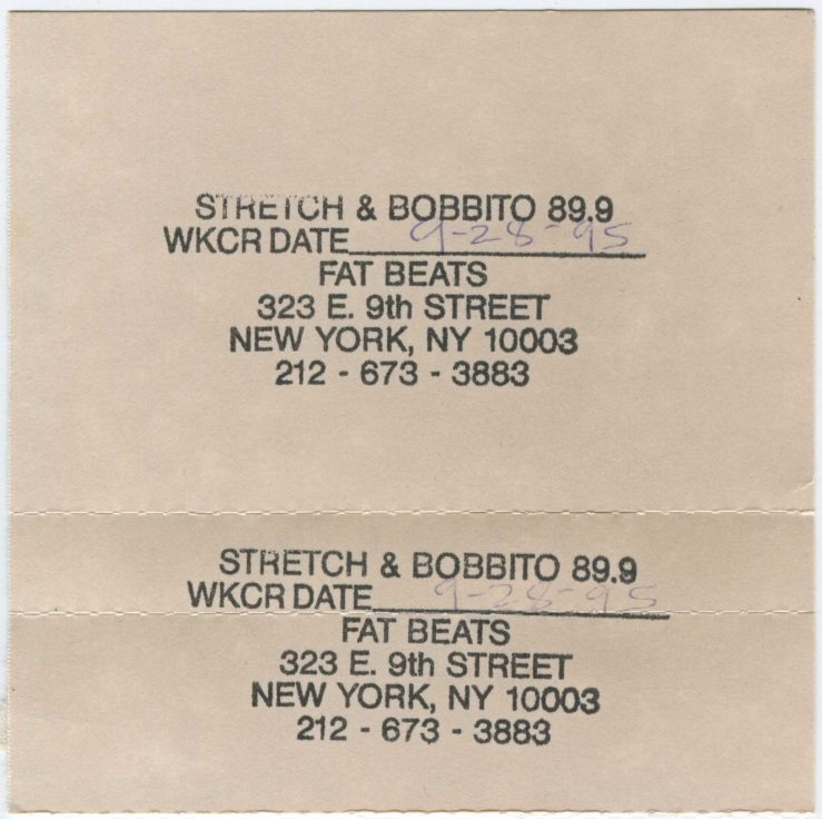 Stretch & Bobb - 28 September 1995 J-Card