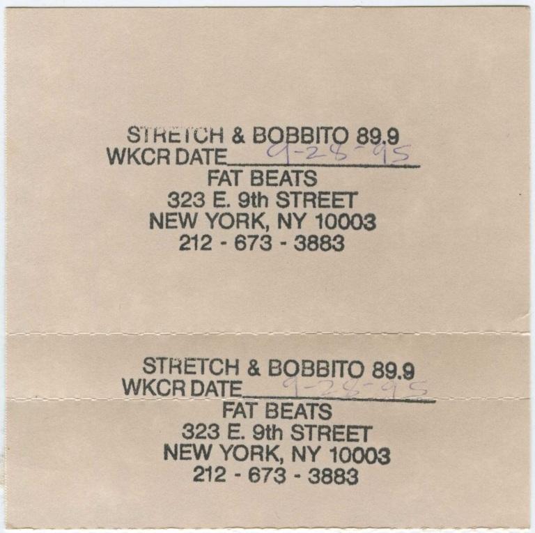 Stretch & Bobb - 28 September 1995 J-Card